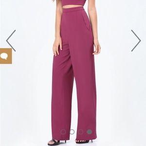 Bebe xNaven Wide Leg High Waist Trouser Purple NWT